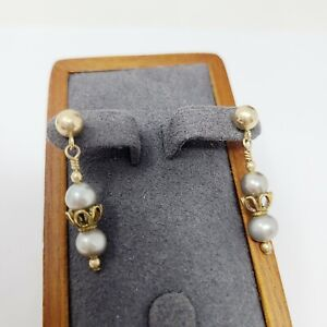 14K Gold Filled Double Grey Freshwater Round Pearl Dangle Post Pierced Earrings