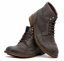 Mens Ankle Fashion Casual Lace UP Boots Desert Shoes Faux Retro Leather Size UK