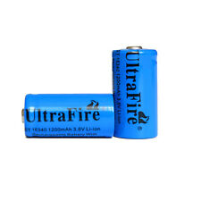 2x UltraFire  3.6/3.7V 16340 Rechargeable Li-ion Battery 1200mAh + EU/US Charger