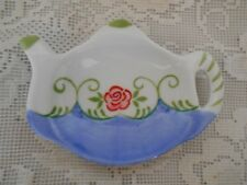 Collectible Hand Painted Blue w/Rose Teapot Shaped Ceramic Teabag Caddy/Holder