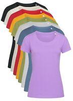 Femmes Uni Coton Bio Col Rond Manches Courtes T-Shirt