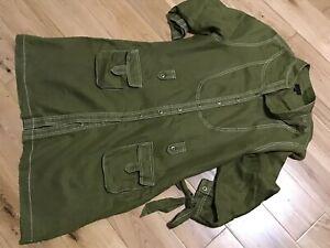 HIJKLM VWXYZ Ladies 100% Linen Sage Green 3/4 Sleeve Dress Size 16