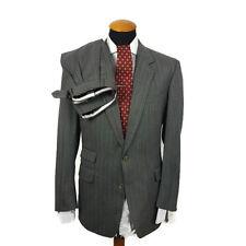 Men's Burberry Suit size 40S Slim Pinstripe Stripe Grey W32 L29 Wool Short 25