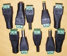 5 EACH Male & Female Coaxial CAT5 To CCTV Video AV Balun RCA  Jack Connectors