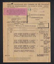 """PARIS (XV°) CHEMIN DE FER FRANCAIS """"SERVICE des APPROVISIONNEMENTS"""" en 1950"""