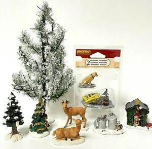 Lemax Christmas Village Figurine Accessories Lot- Animals And Trees