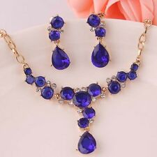 18K GOLD PLATED GENUINE AUSTRIAN CRYSTAL SAPPHIRE BLUE NECKLACE & EARRING SET