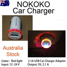 NOKOKO Single USB Car Charger 2.1A For Samsung iPhone Android Phone Red Light