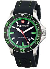 WENGER Seaforce Dive Watch 01.0641.108 Black W/ Green - New