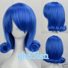 Fairy Tail Juvia Blue wavy Short Cosplay Wig Heat Resistant full wigs+wig cap