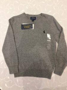 Ralph Lauren Boy's Long Sleeve Grey  Jumper (Size 7 Years)