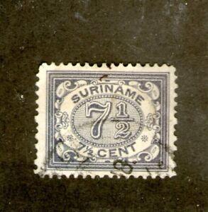 1902-08 DUTCH SURINAME 7&1/2 CENT BLACK(USED-HINGED) CV $20++