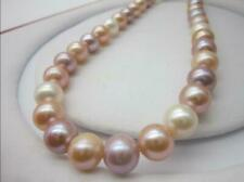 """AAA 9-10 MM white purple pink SOUTH SEA  Multicolor PEARL NECKLACE 18"""" 14k"""