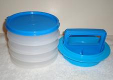 Tupperware Hamburger Press Set Blue 4 Stackable Keepers 1/3lb w/ Seal NEW