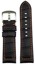 Gator Print Orange Stitch & Back 125/75 26mm Panatime Black Leather Watch Band w