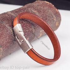 Fashion Single Band Quality Leather Bracelet Wristband Men's Cuff LIGHT BROWN