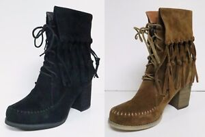 SBICCA WAGON WOMEN'S FRINGED SUEDE LEATHER FASHION ANKLE BOOTS FLANNEL LINED NEW