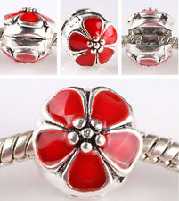 1pcs Sterling solid silver with cherry buckle European charm bead bracelet B#630