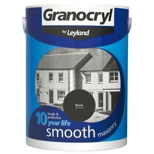 Granocryl 2.5L Black Masonary Paint Smooth Outside Exterior Brick Concrete