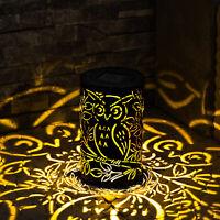 LED Metal Owl Solar Light Garden Decorative Atmosphere Silhouette Lantern Decor
