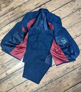 NEW & LINGWOOD Linen Suit 38R X 30 Navy