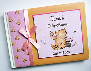 Personalised Classic Winnie the Pooh girls baby shower guest book, album, gift