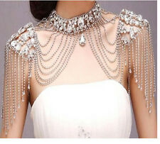 Luxury Crystal Bride Shoulder Chain Rhinestone Handmade Necklace Wedding Jewelry
