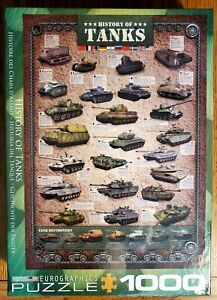 History of Tanks 1000 Piece Puzzle Jigsaw Green Military Tank NEW Sealed
