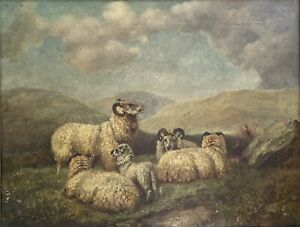 """Follower Of Thomas Sidney Cooper """"Sheep In A Highland Setting"""" Framed & Signed"""