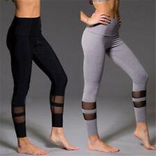 Women Mesh Leggings High Waist Sports Trouser Stitching Fitness Yoga Gym Pants