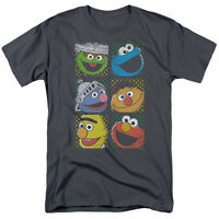 SESAME STREET GROUP SQUARES ELMO Licensed Adult Men's Graphic Tee Shirt SM-5XL