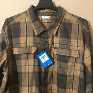 Columbia Mens Plaid Roll Up Sleeve Omni Shade 50 UPF Shirt Big/Tall Brown Sz 3XL