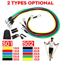 11PCS Resistance Exercise Band Yoga Pilates Abs Fitness Tube Workout Bands Train