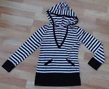 Girls Black & White Striped Hoodie Top, George, 9-10 Years, VGC