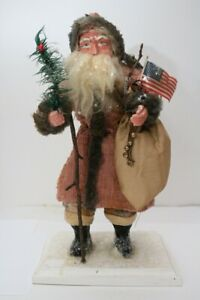 Primitive Santa With Flag & Bag, Vintage Coverlet, Feather Tree, Snow, Handmade