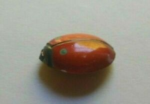 "Antique Realistic Lady Bug Insect Button 1 1/16"" Long Japanese Arita Porcelain"