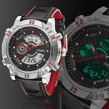 OHSEN Mens Military Light Red Leather Digital Case Quartz Wrist Watches Gift