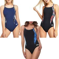 arena Womens Carbonite One Piece Swimming Swimsuit Costume - Black/Blue - 40