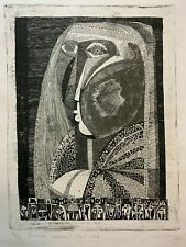 UNKNOWN ARTIST mid-century modern abstract etching signed (1967)