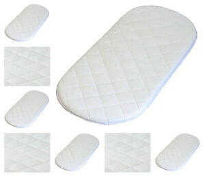 Quilted Breatheable Hypoallergenic Moses Pram Basket Mattress Oval Shaped Waterproof Mattress Size 75 X 33 X 3.5 cm