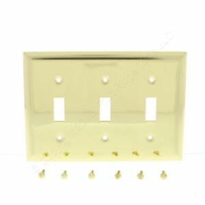 P&S Solid Polished Brass 3-Gang Toggle Switch Wallplate Cover SB3-PBCC10
