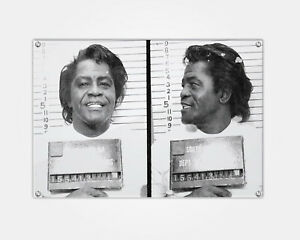 James Brown Wood Print Celebrity Mugshot Booking Photo Mug Shot Pop Art