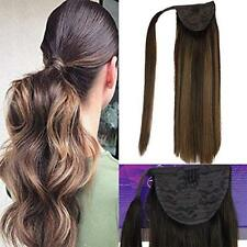Real Remy Hair Ponytail Straight Thick Human Hair Extension Wrap Around Ponytail