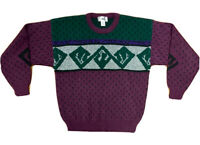 VTG 80's 90's Jed Men's M Geometric All Over Print Sweater Cosby Christian Cross
