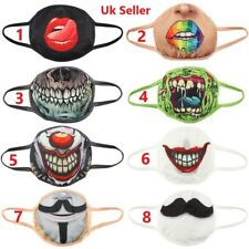 Fun Funky face masks (adult size) protective reusable washable mouth nose UK