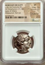 Near East, EGYPT, 4th centuries BC. AR (silver) Tetradrachm Athena & Owl NGC XF