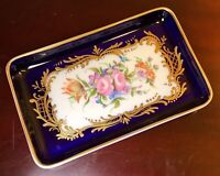 Exquisite Cobalt Hand Painted Limoges Tray, Custom Designed French Porcelain