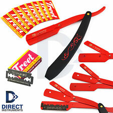 Floral Print Straight Edge Cut Throat Folding Razor Shaving Pocket Knife +Blades