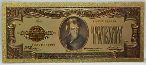 "$20 1928 US Gold Certificate Novelty 24K Gold Foil Plated Note Bill 6"" LG326"