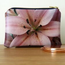 Coin Purse Pale Pink Ladies Faux Leather Floral Handmade Fabric Medium Flower